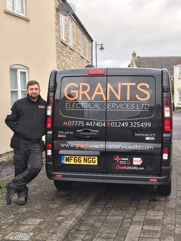 Grants Electrical Services Martin stood with the van